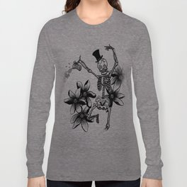 Skeleton with flowers and beer Long Sleeve T-shirt