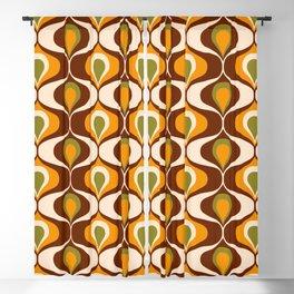 Retro 70s ovals op-art pattern brown, orange Blackout Curtain