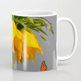 ORANGE MONARCH BUTTERFLIES CROWN IMPERIAL FLOWER Coffee Mug
