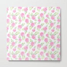 Blush pink green modern watercolor hand painted camellias Metal Print