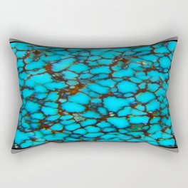 Western Turquoise Blue-Black Spider Web Turquoise Gemstone Rectangular Pillow
