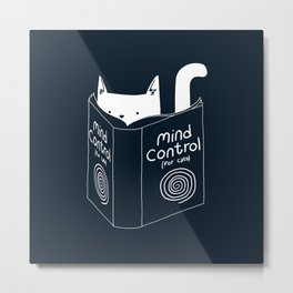 Mind Control For Cats (dark blue) Metal Print