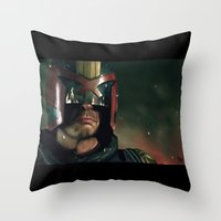 ed sheeran Throw Pillows featuring Dredd[ed] by Mel Hampson