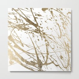 Artistic white abstract faux gold paint splatters Metal Print