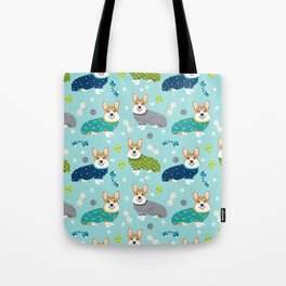 Corgi pajamas welsh corgi in pjs pattern print cute dog gifts custom dog portrait Tote Bag