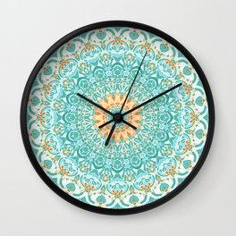 Orange and Turquoise Clarity Mandala Wall Clock