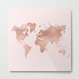 Rose Gold World Map Metal Print
