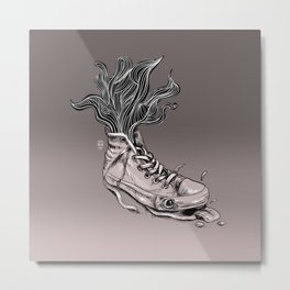 Tired Sneaker Metal Print