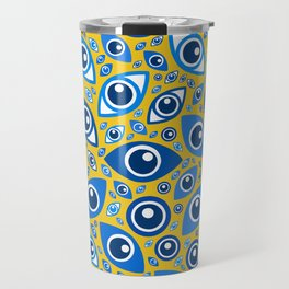 Greek Evil Eye pattern Blues on Yellow Travel Mug