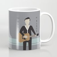 johnny cash Mugs featuring Johnny Cash by Sarah Duet