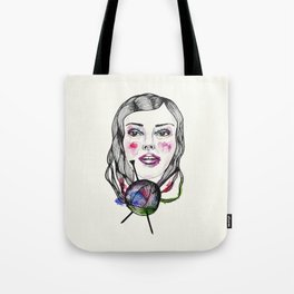 Knitting girl Tote Bag