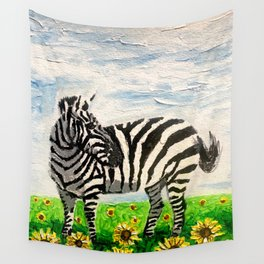 Stripes and Sunflowers Wall Tapestry