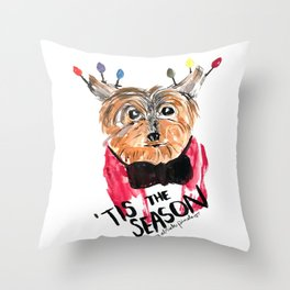 Holiday Dog, Tis the Season, Pinales Illustrated Throw Pillow