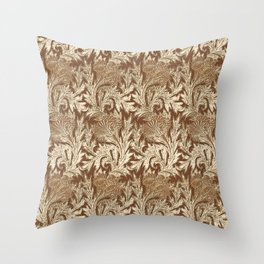 Jacobean Flower Damask, Brown and Taupe Tan Throw Pillow
