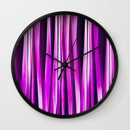 Plum Purple and and Burgundy Stripy Lines Pattern Wall Clock