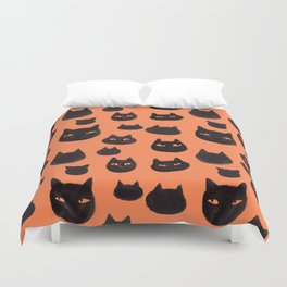 Halloween Inky Black Cat Pattern Duvet Cover