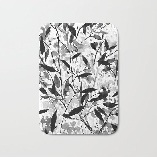 Wandering Wildflowers Black and White Bath Mat