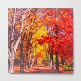 Falling leaves natural background Metal Print