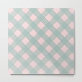 Pink & Mint Checkered Pattern-Mix and Match with Simplicity of Life Metal Print