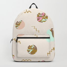 Geometric pattern texture golden and pastels circles Backpack