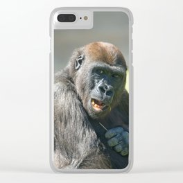Happy Gorilla Lope Clear iPhone Case