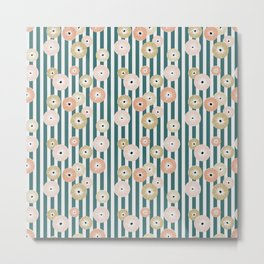 Delicate flowers on stripes Metal Print