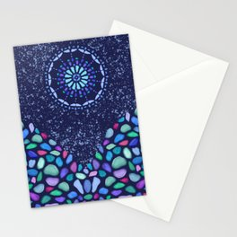 Sea Glass Mountain Night Mosaic Stationery Cards