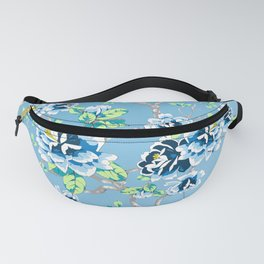 Chinoiserie Ming style Blue Floral Pattern Fanny Pack