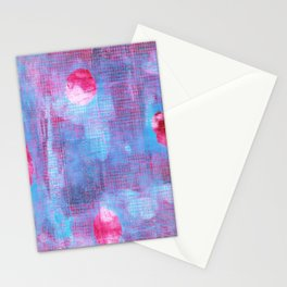 Crimson Clover, Abstract Monoprint Painting Stationery Cards