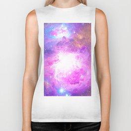 Colorful Pastel Pink Nebula Purple Galaxy Stars Biker Tank