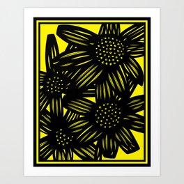 black, yellow, art print, art print, Drawing, Flowers, Botanical, Artwork, Home decor, Print, Botani Art Print