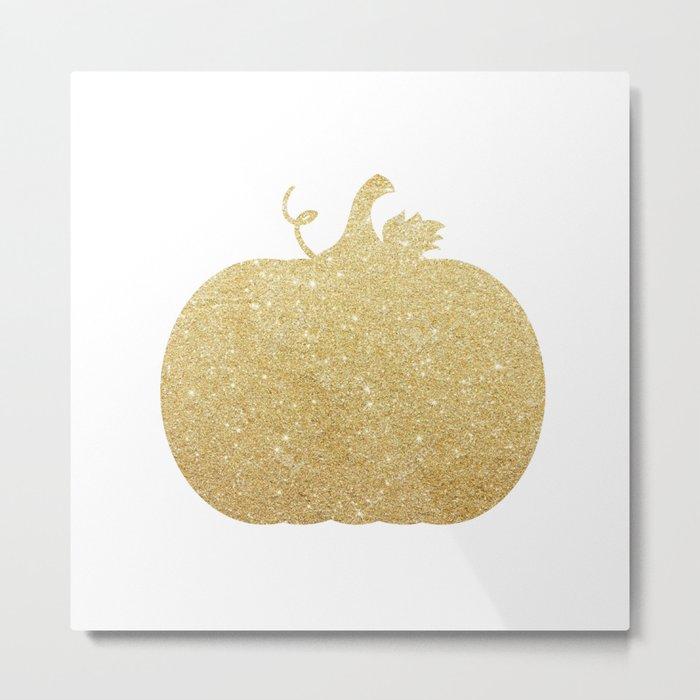 Gold Glitter Pumpkin Metal Print