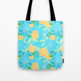 06 Yellow Blooms on Blue Tote Bag