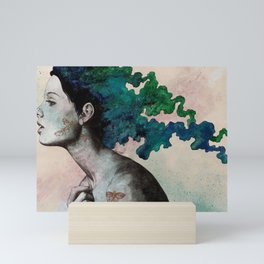 Moral Eclipse (colorful hair woman with moths tattoos) Mini Art Print