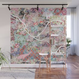 Pittsburgh map flowers Wall Mural