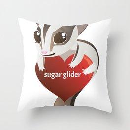 I Love Sugar Glider Throw Pillow