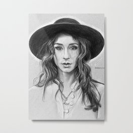 Troian Gray Sketch Metal Print