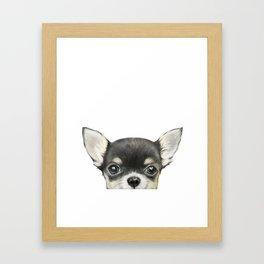 Chihuahua mix color Dog illustration original painting print Framed Art Print