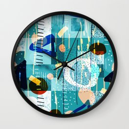 Abstract colorful geometric shapes collage Wall Clock