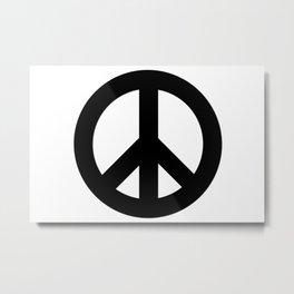 Black on White CND Peace Symbol Metal Print