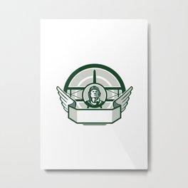 World War One Airman Biplane Circle Retro Metal Print
