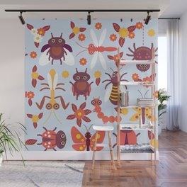 Funny insects Spider butterfly caterpillar dragonfly mantis beetle wasp ladybugs Wall Mural