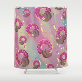 Cute sloth hanging from the donut Shower Curtain