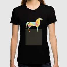 Origami Horse by Friztin SMALL Black Womens Fitted Tee