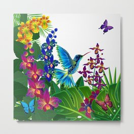 Tropical Hummingbird Pattern 1 Metal Print