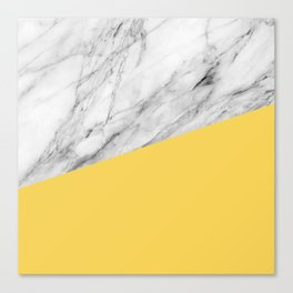 Marble and Primrose Yellow Color Canvas Print