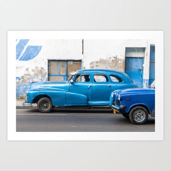 Vintage Blue Cars Art Print