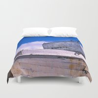 popeye Duvet Covers featuring  Popeye's Boat by Bruce Stanfield