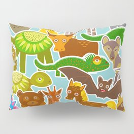 collection Funny cartoon Animals seamless pattern on blue background. Vector Pillow Sham