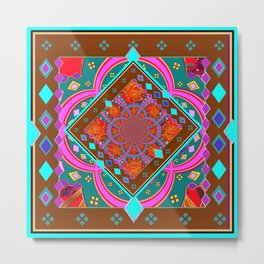 Coffee Brown Turquoise Geometric Wester StyleAbstract Metal Print